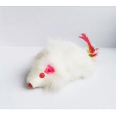 Игр. КТ мишка ест. Кожа дългокосместа Бяла 10 см, P-179